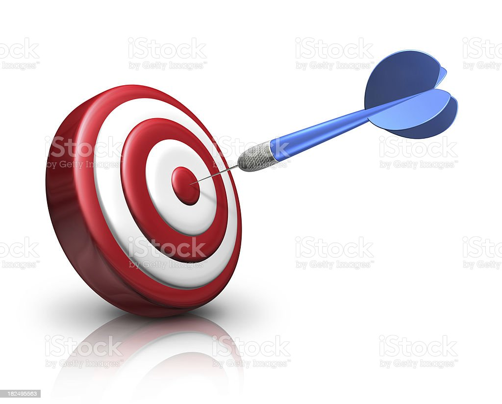 Blue dart on red target royalty-free stock photo