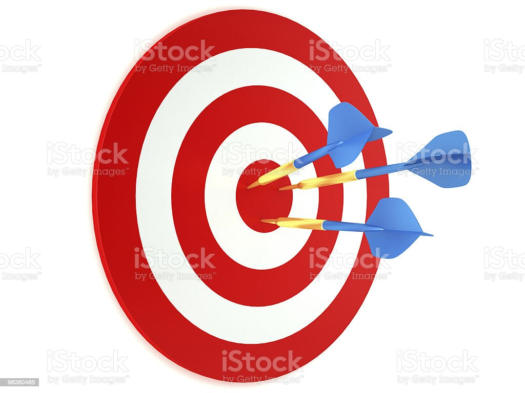 Blue darts in red and white target royalty-free stock photo