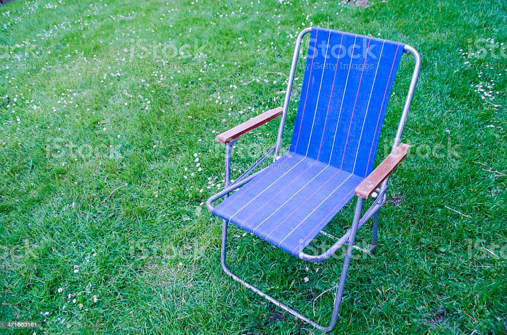 Blue Deck chair royalty-free stock photo
