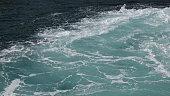Blue deep sea foaming