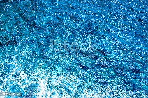 istock Blue deep sea foaming water background 1036620128