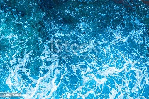 912159408 istock photo Blue deep sea foaming water background 1036620568