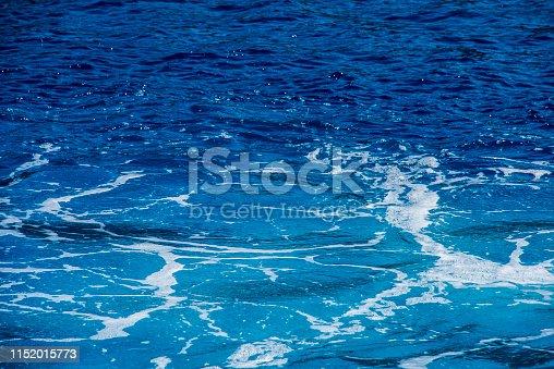 istock Blue deep sea foaming water background 1152015773