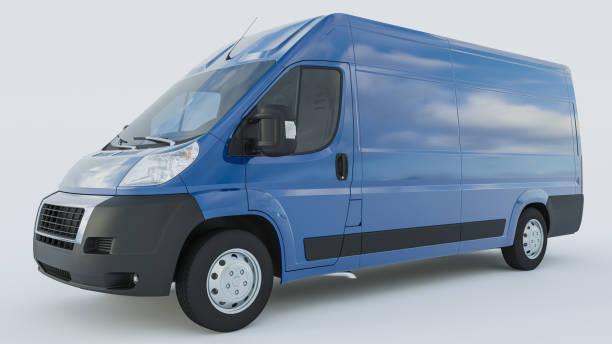 Blue Delivery Van auf weißem Hintergrund – Foto