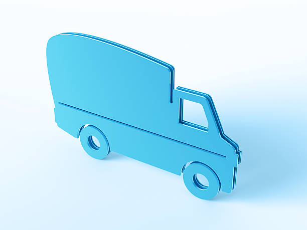 Blue Delivery Van Symbol 3D Render of a blue delivery van symbol. Concept image for Transportation Services. Very high resolution available!Related images: blue 3d business NOT map NOT background stock pictures, royalty-free photos & images