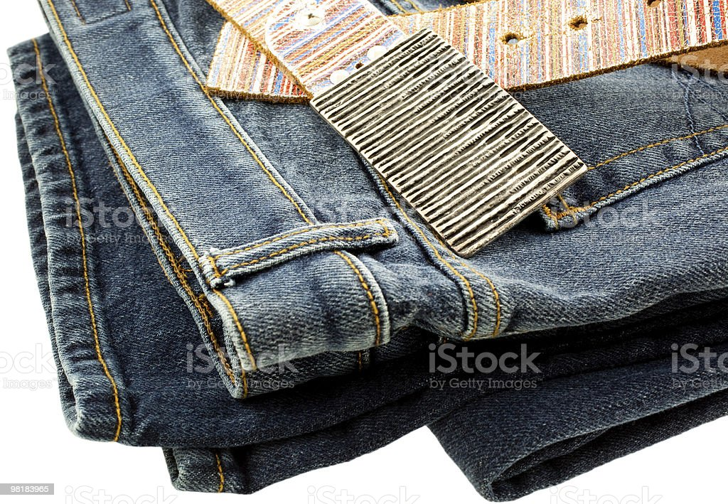 blue denim jeans and strap leather belt royalty-free stock photo
