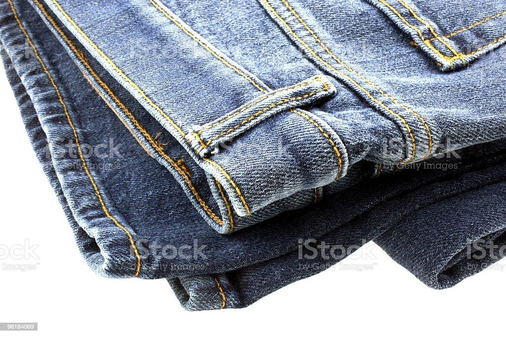 blue denim jeans on white background royalty-free stock photo