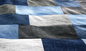 Blue denim jeans texture, patchwork denim jean fabric pattern