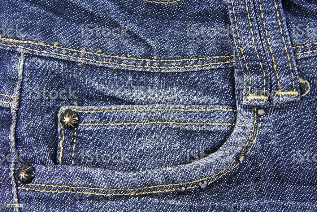 Blue denim jeans  with pocket  texture royalty-free stock photo