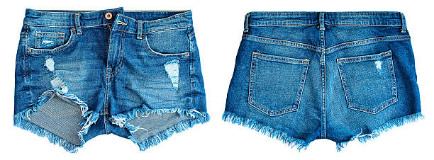 blue denim shorts - jean shorts stock photos and pictures
