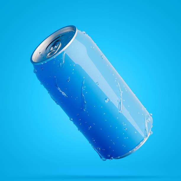 Blaue Diagonale Aluminiumdose mit Wassertropfen – Foto