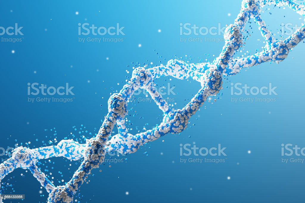 Blue diagonal DNA chain against blue background stock photo