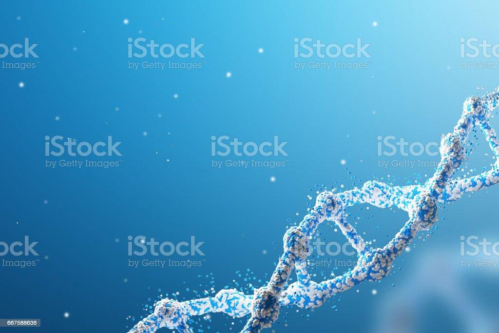 Blue diagonal DNA chain against blue stock photo