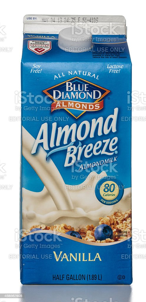 Blue Diamond Almond Breeze Vanilla Milk carton stock photo