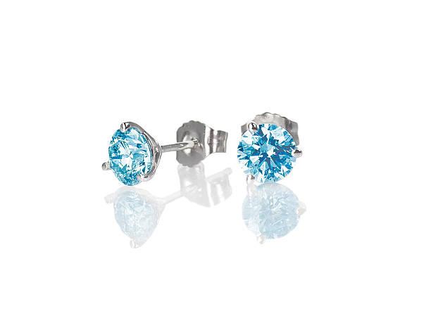 blau diamant ohrstecker topas runde brilliant - ohrringe piercing stock-fotos und bilder