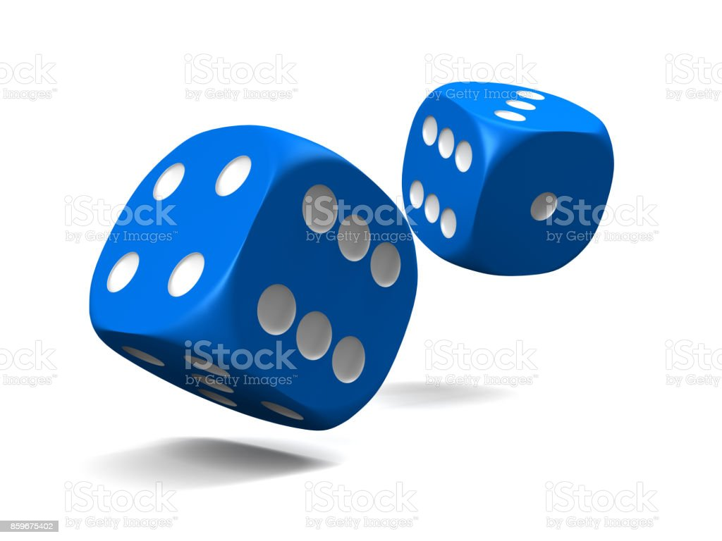 Blue dice stock photo