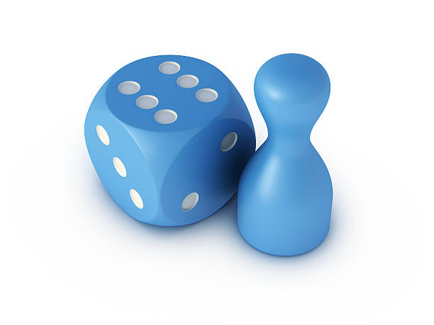 """Blue Dice Six And Pawn """"3D Render of a blue pawn and a blue dice, which is showing the six. Very high resolution available!Related images:"""" blue 3d business NOT map NOT background stock pictures, royalty-free photos & images"""