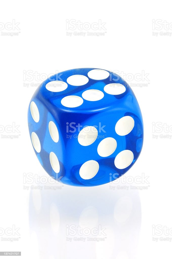 Blue Die on White stock photo