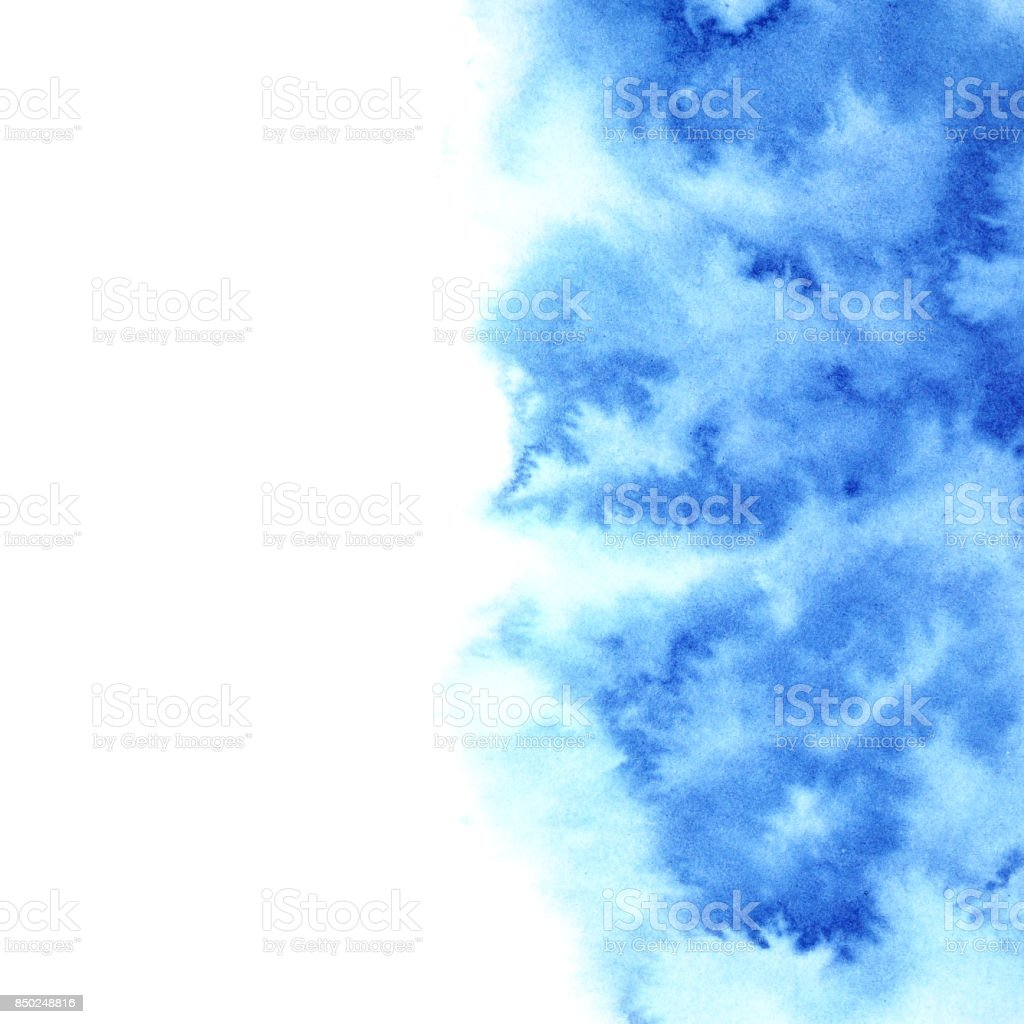 Blue diffluent watercolor background stock photo