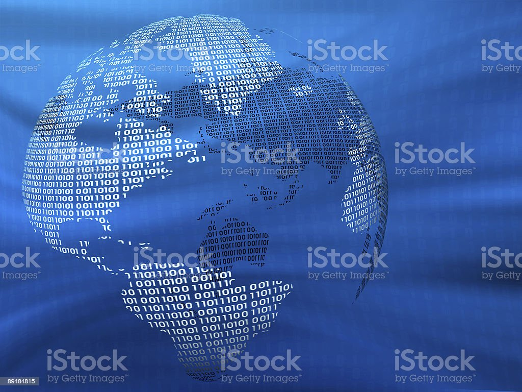 A blue digital 3D globe on a blue warped background royalty-free stock photo