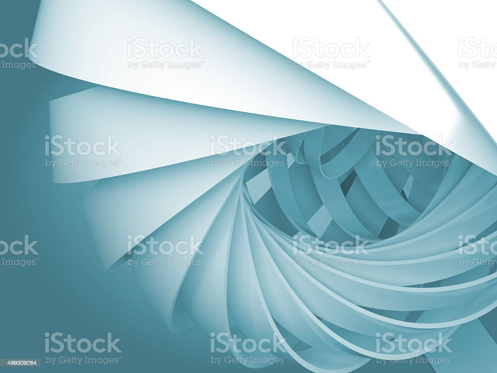 Blue digital background with 3d spiral structures stock photo