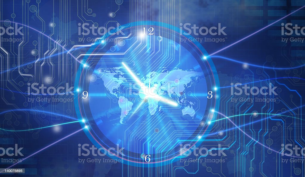 Blue digital background with analog clock and world map stock photo