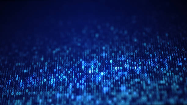 blue digital binary data code on screen - binary code stock pictures, royalty-free photos & images