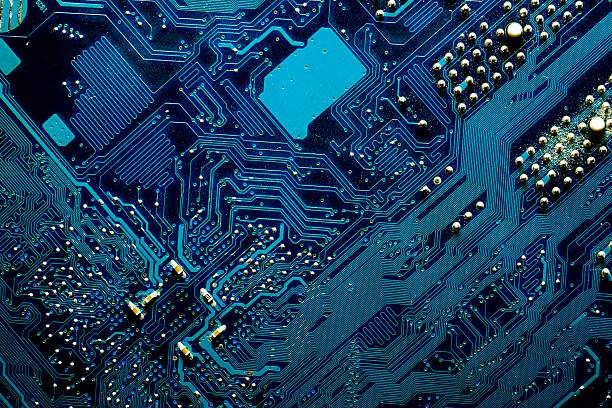 blue digital circuits abstract background - mother board stock photos and pictures