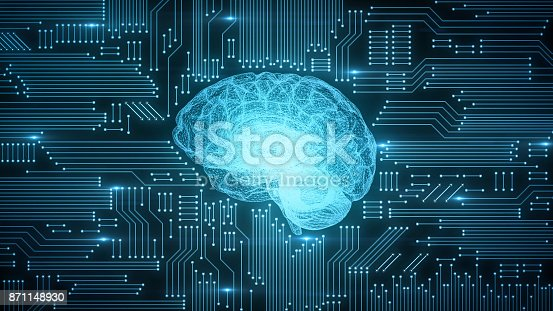 istock Blue digital computer brain on circuit board with glows and flares 871148930