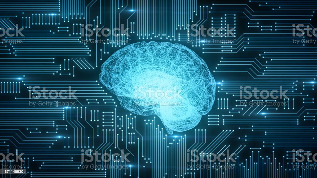 Blue digital computer brain on circuit board with glows and flares stock photo