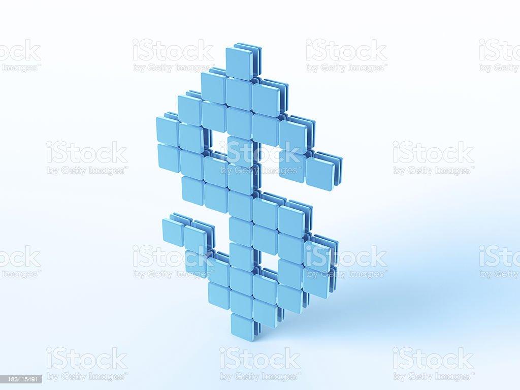 Blue Digital Currency Symbol Dollar stock photo