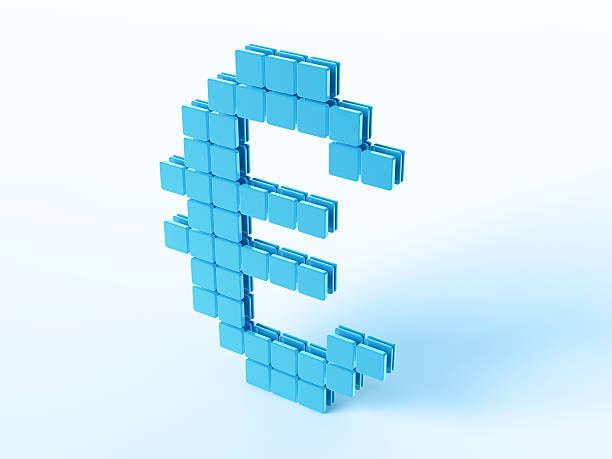 Blue Digital Currency Symbol Euro 3D Render of a Digital Currency Euro-Symbol built with blue square pieces. Very high resolution available! Use it for Your own composings! blue 3d business NOT map NOT background stock pictures, royalty-free photos & images