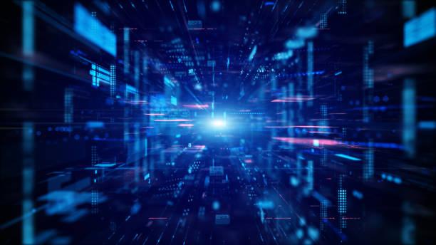 ブルーデジタルサイバースペースとデジタルデータネットワーク接続の概念。デジタルデータハイスピードインターネット、未来の技術デジタル抽象的な背景概念を転送します。 - テクノロジー ストックフォトと画像