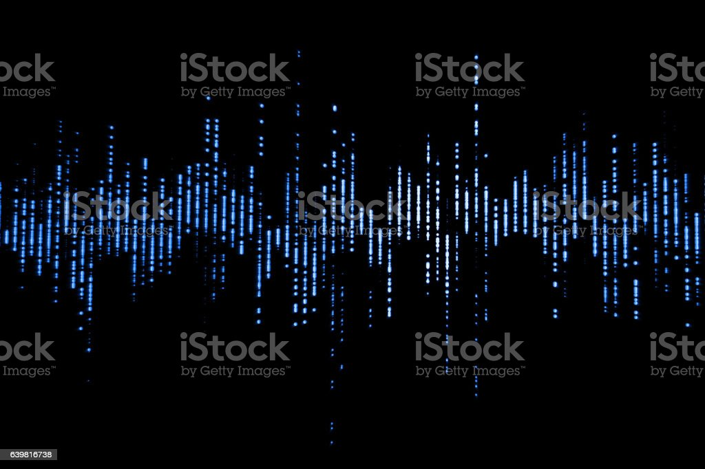 blue digital equalizer audio sound waves stock photo
