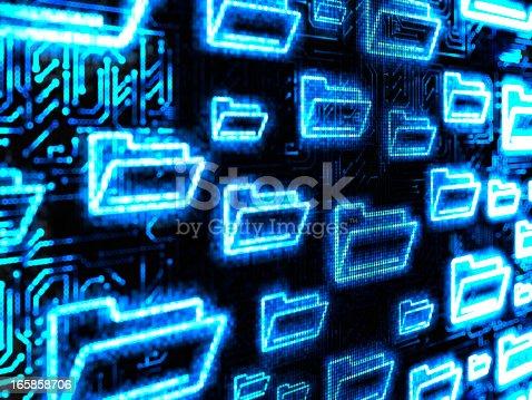 istock Blue digital folder background 165858706