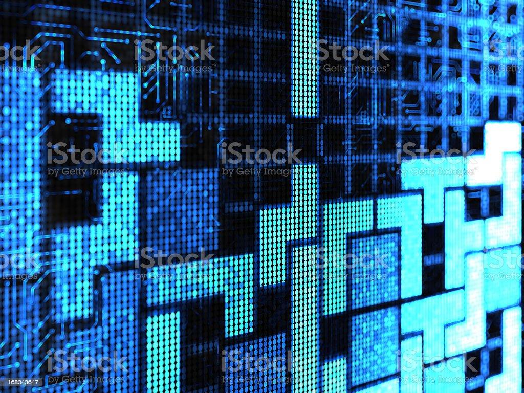 A blue digital game of tetris blocks stock photo