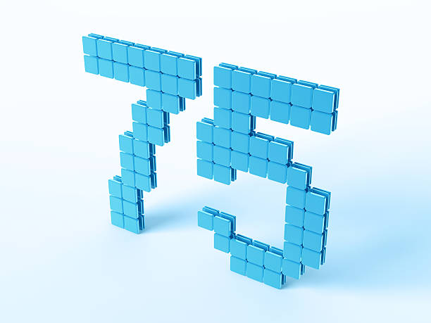 Blue Digital Number Seventyfive 3D Render of a Digital Number 75 built with blue square pieces. Very high resolution available! Use it for Your own composings! blue 3d business NOT map NOT background stock pictures, royalty-free photos & images