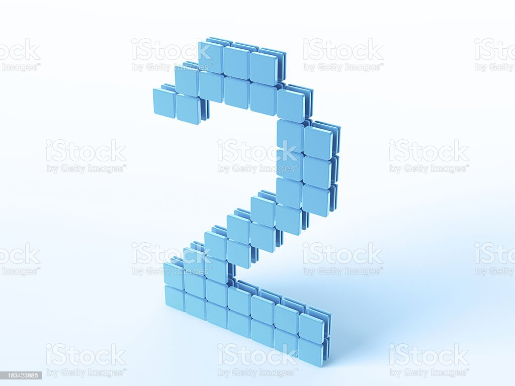 Blue Digital Number Two royalty-free stock photo