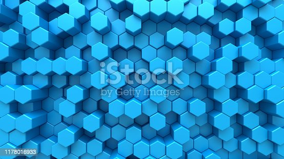 1003112136 istock photo Blue digital technological background with steel hexagon cells. 3d abstract illustration of honeycomb structure. 1178016933