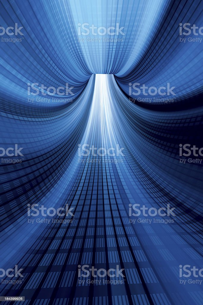 Blue Digital Tunnel Vertical royalty-free stock photo