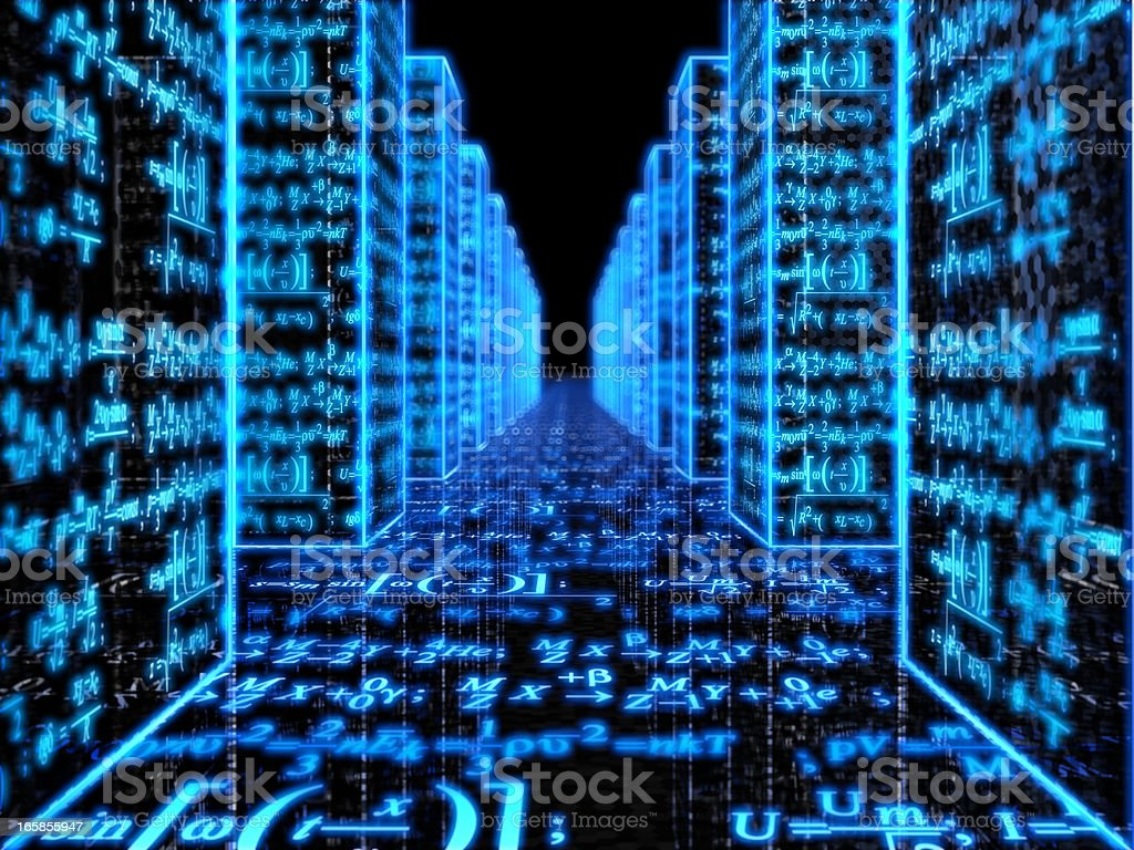 Blue digital walls, covered in mathematical formulas royalty-free stock photo