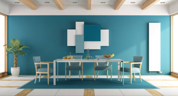 Blue dining room - foto stock