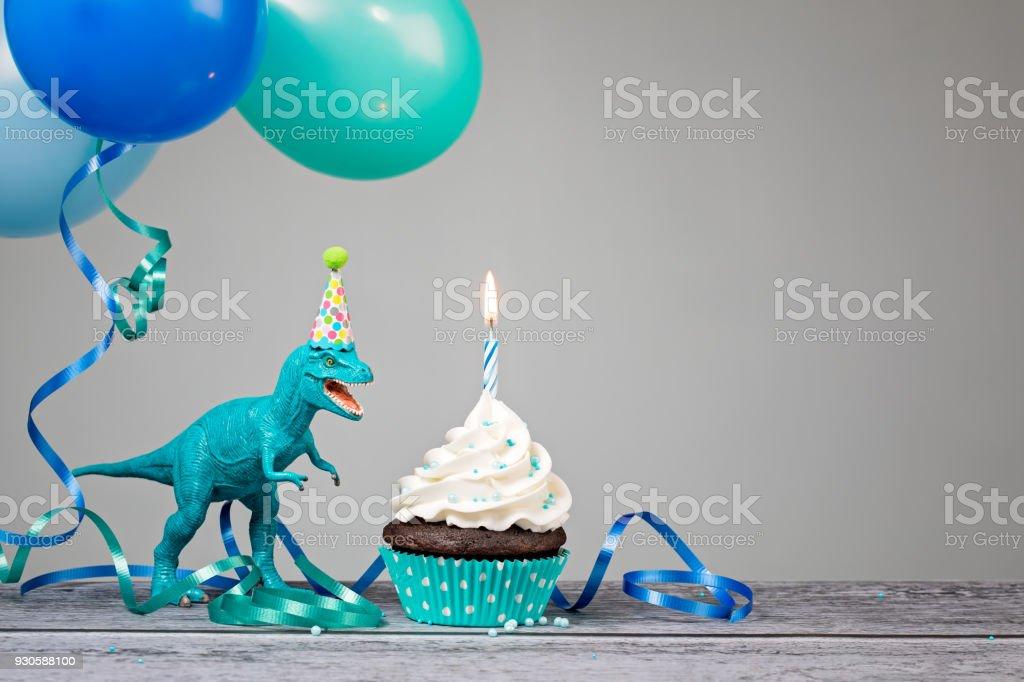 Blue Dinosaur Birthday Party stock photo
