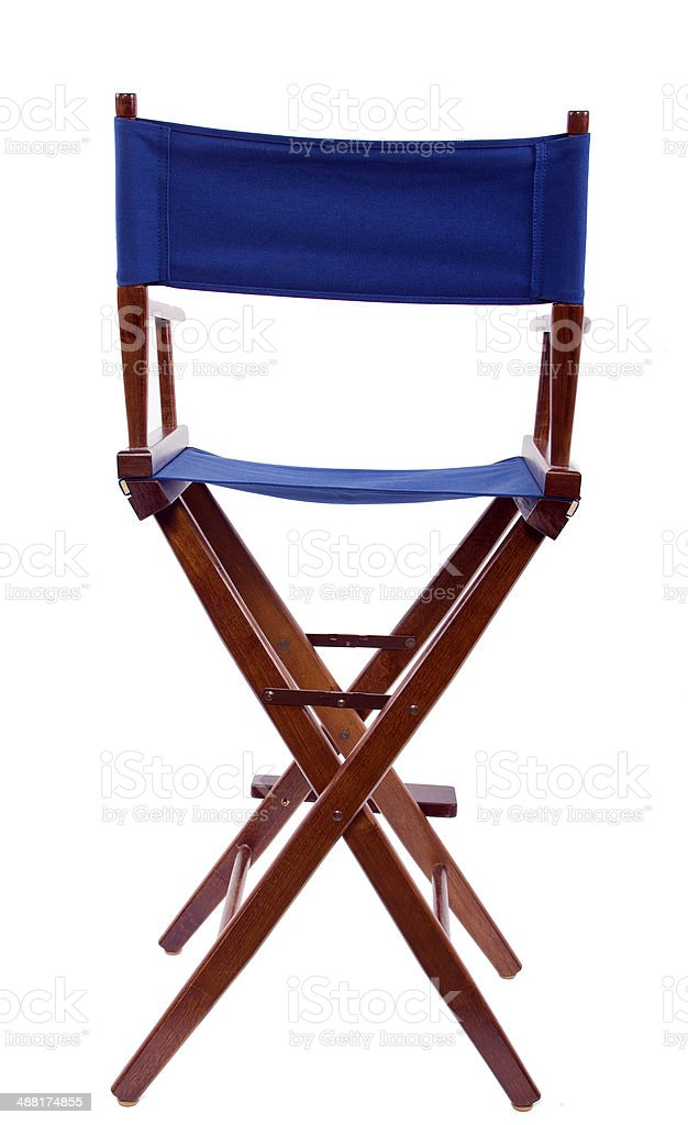Blue Director's Chair For Hollywood Industry on White Background stock photo