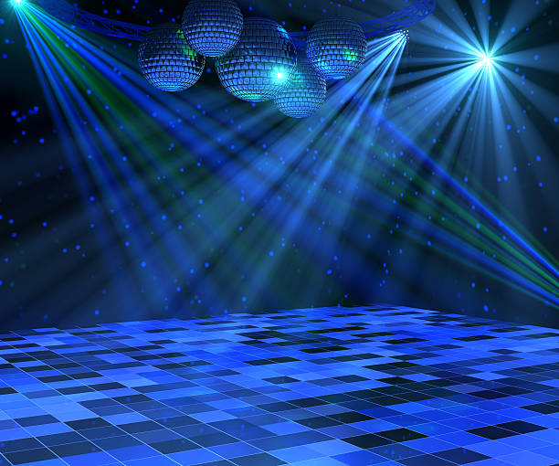 Blue Disco Dance Floor Blue disco dance floor with mirror balls, lattice framework and spot lights. 3d render. nightclub stock pictures, royalty-free photos & images