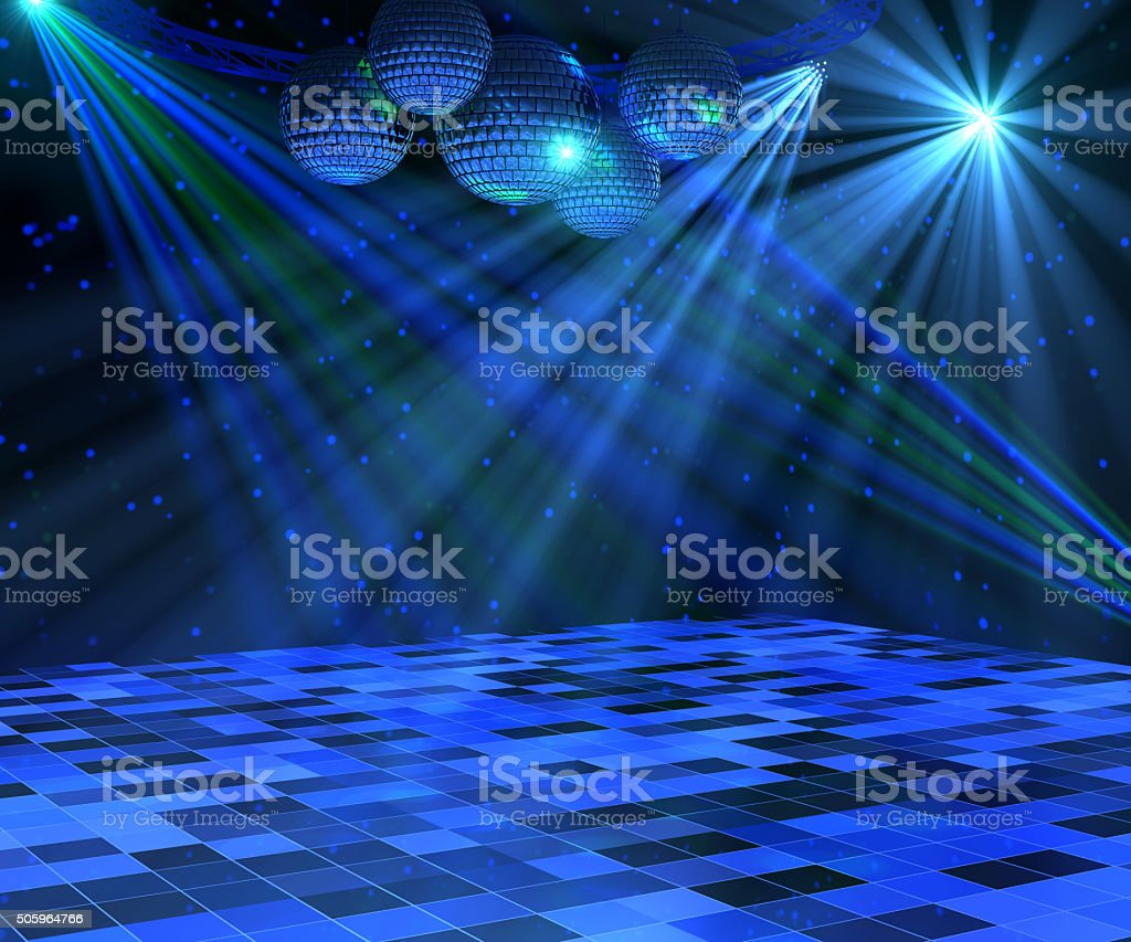 Blue Disco Dance Floor stock photo
