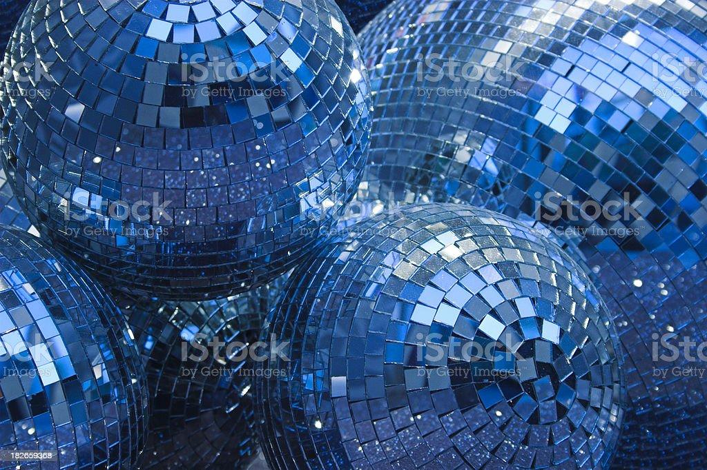Blue disco glitter ball background.