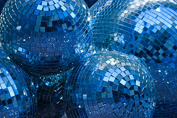 blue disco glitter balls stock photo