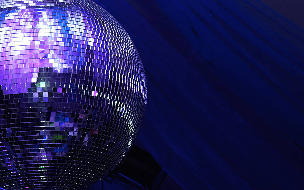 blue disco glitterball sphere - disco dancing stock photos and pictures