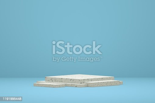 1049530612 istock photo blue display table simple 3d rendering background wall, can be used for banner design items display background 1191995448